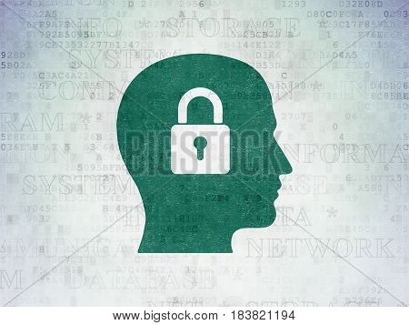 Data concept: Painted green Head With Padlock icon on Digital Data Paper background with  Tag Cloud