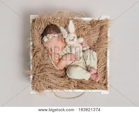 Adorable child napping on her back with a lovely rabbit toy, in a basket, topview