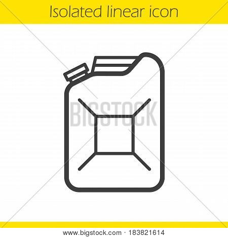 Gasoline canister linear icon. Fuel thin line illustration. Petrol jerrycan contour symbol. Vector isolated outline drawing