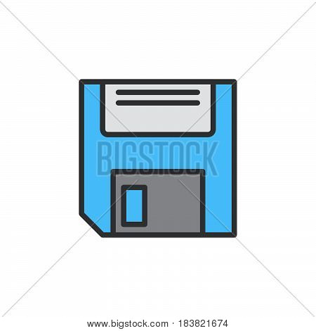 Floppy disk line icon filled outline vector sign linear colorful pictogram isolated on white. Save symbol logo illustration. Editable stroke. Pixel perfect