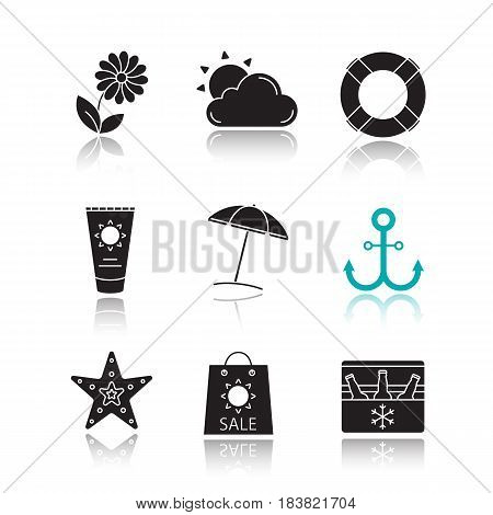 Summer drop shadow black icons set. Flower, sun and cloud, lifebuoy, sunbathing cream tube, beach umbrella, anchor, seastar, summer sale, portable fridge with beer. Isolated vector illustrations