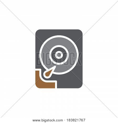 Hard disk drive icon vector filled flat sign solid colorful pictogram isolated on white. HDD symbol logo illustration. Pixel perfect