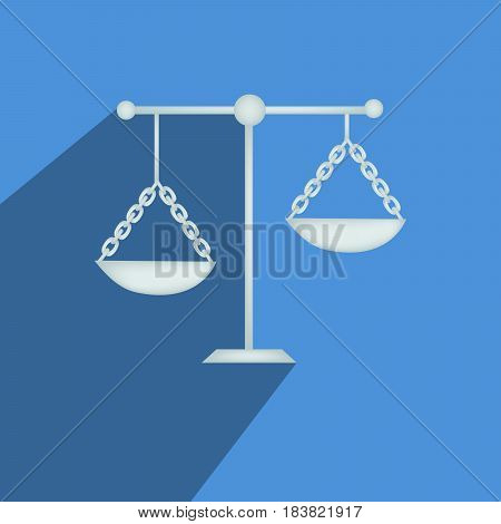 Illustration of Scales balance icon on blue background