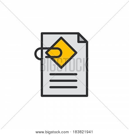Document attachment line icon filled outline vector sign linear colorful pictogram isolated on white. Symbol logo illustration. Editable stroke. Pixel perfect