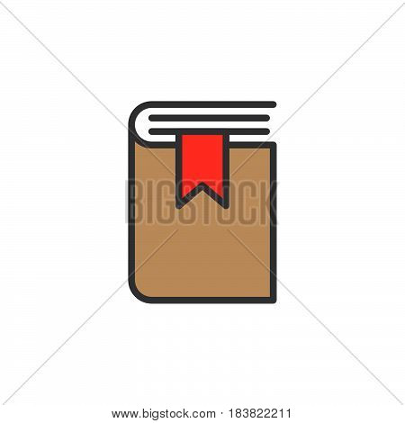 Book bookmark line icon filled outline vector sign linear colorful pictogram isolated on white. Symbol logo illustration. Editable stroke. Pixel perfect