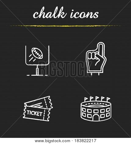 American football chalk icons set. Foam finger, game tickets, baseball arena, goal sign. Isolated vector chalkboard illustrations