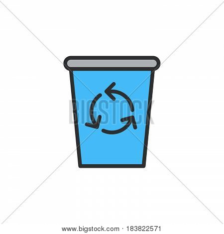 Recycle Bin line icon filled outline vector sign linear colorful pictogram isolated on white. Delete symbol logo illustration. Editable stroke. Pixel perfect