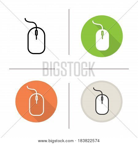 Computer mouse icon. Flat design, linear and color styles. Isolated vector illustrations