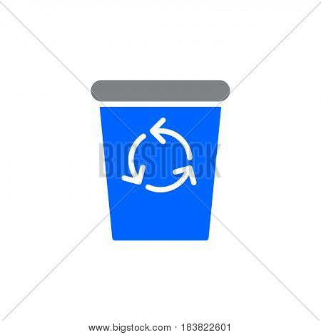 Recycle Bin icon vector filled flat sign solid colorful pictogram isolated on white. Delete symbol logo illustration. Pixel perfect