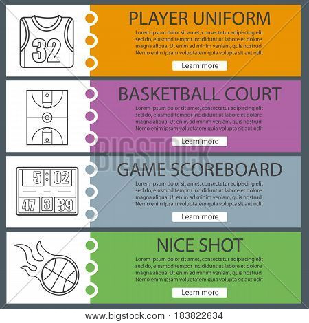 Basketball banner templates set. Shirt, court, scoreboard, burning ball. Website menu items with linear icons. Color web banner. Vector headers design concepts
