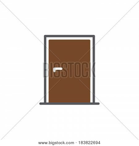 Door icon vector filled flat sign solid colorful pictogram isolated on white. Symbol logo illustration. Pixel perfect