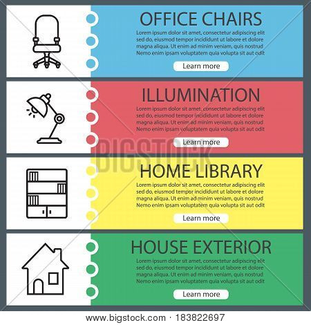 House interior banner templates set. Furniture. Office chair, desk lamp, bookcase, home. Website menu items with linear icons. Color web banner. Vector headers design concepts