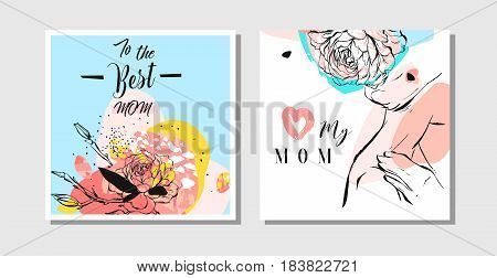 Hand drawn vector abstract greeting cards set with Happy Mothers Day Calligraphy and woman figure with collage flowers isolated on white background, feminine design for card, invitation, save the date.
