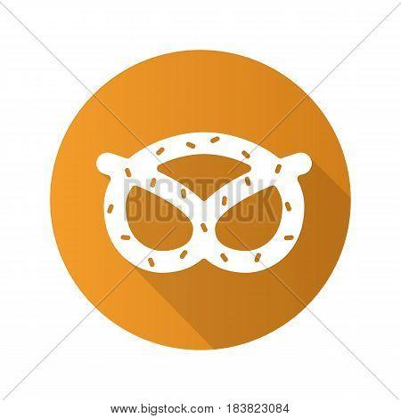 Pretzel flat design long shadow icon. Oktoberfest brezel. Vector silhouette symbol