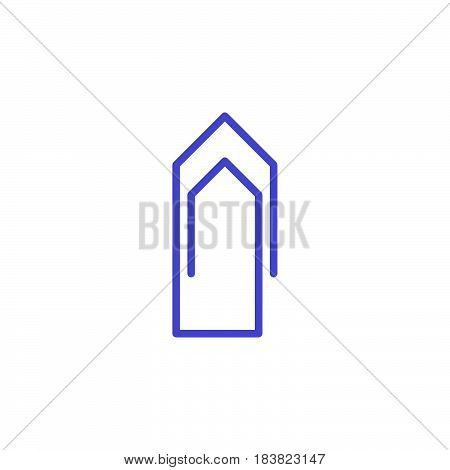 Paperclip line icon outline vector sign linear colorful pictogram isolated on white. Attach symbol logo illustration. Editable stroke. Pixel perfect