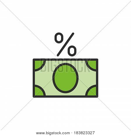 Money banknote with percent sign line icon filled outline vector sign linear colorful pictogram isolated on white. Fees symbol logo illustration. Editable stroke. Pixel perfect