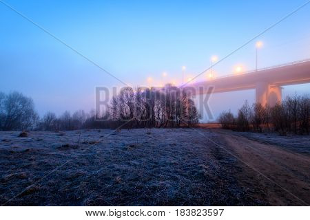 Bridge And River In The Fog