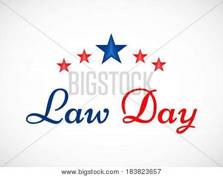 Blue and Red Law Day text with stars