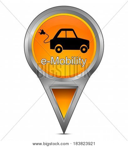 orange Map pointer with e-Mobility - 3d illustration
