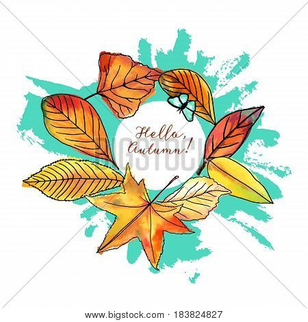 Hello, Autumn vector design with vibrant fall leaves, yellow and orange, on a teal watercolor texture, with a little butterfly. An artistic template for a card, flier, or invitation