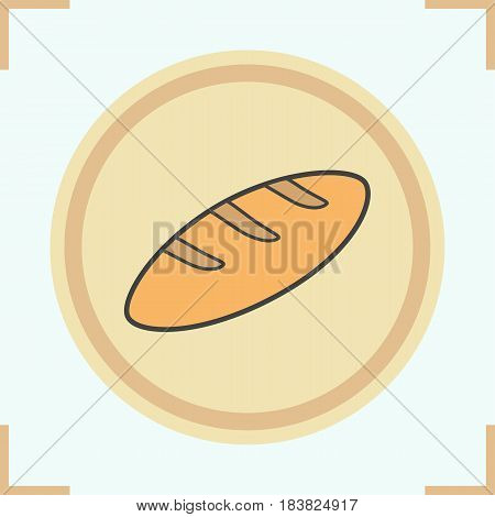 Long loaf of bread color icon. Isolated vector illustration