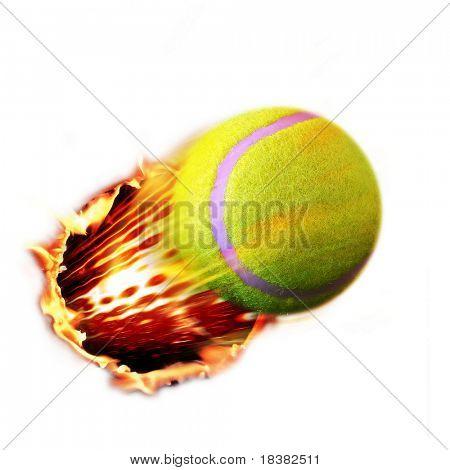Tennis ball flames