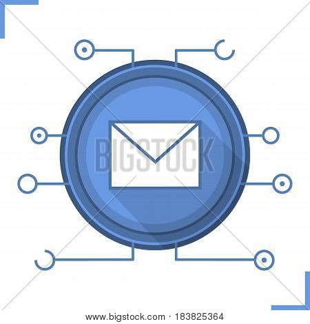 Email security flat design long shadow icon. Sms message. Email letter with microchip pathways. Vector silhouette symbol