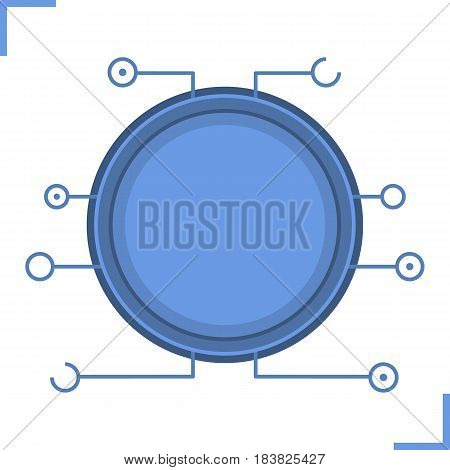 Digital microchip frame. Blue color futuristic chip set icon. Sci-fi user interface concept. Cyber technology background. Computer circuit board. Isolated vector illustration