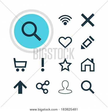 Vector Illustration Of 12 User Icons. Editable Pack Of Cordless Connection, Emotion, Wheelbarrow And Other Elements.