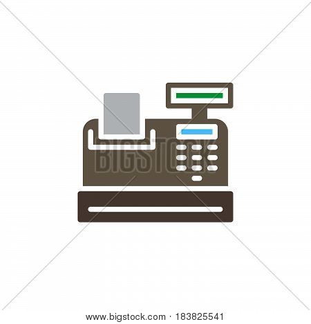 Cash register icon vector filled flat sign solid colorful pictogram isolated on white. Symbol logo illustration. Pixel perfect