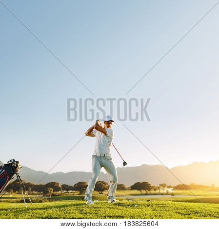 Male Golf Player Teeing-off With Driver