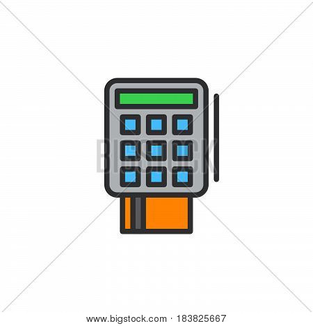 Credit card terminal line icon filled outline vector sign linear colorful pictogram isolated on white. Symbol logo illustration. Editable stroke. Pixel perfect