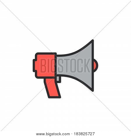 Megaphone bullhorn line icon filled outline vector sign linear colorful pictogram isolated on white. Announcement symbol logo illustration. Editable stroke. Pixel perfect
