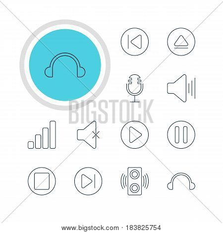 Vector Illustration Of 12 Melody Icons. Editable Pack Of Lag, Subsequent, Rewind And Other Elements.