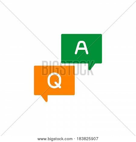 FAQ questions and answers icon vector filled flat sign solid colorful pictogram isolated on white. Symbol logo illustration. Pixel perfect