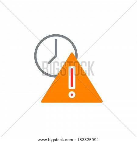 Exclamation point and clock icon vector filled flat sign solid colorful pictogram isolated on white. Expired symbol logo illustration. Pixel perfect
