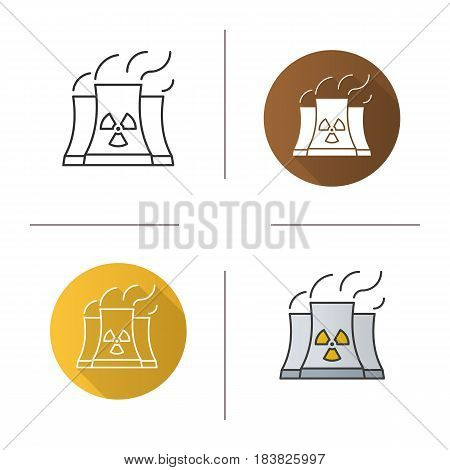 Nuclear power plant icon. Flat design, linear and color styles. Radiation symbol. Isolated vector illustrations