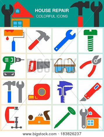 House repair and construction vector icons set Hand tools for home renovation modern solid symbol collection filled colorful pictogram pack isolated on white. Signs logo illustration