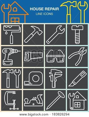 House repair and construction line icons set. Hand tools for home renovation outline vector symbol collection linear white pictogram pack isolated on gray. Signs logo illustration
