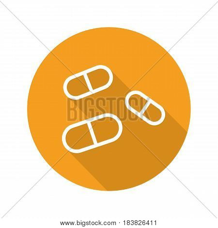 Medicine pills flat linear long shadow icon. Drugs. Pharmacy. Vector line symbol