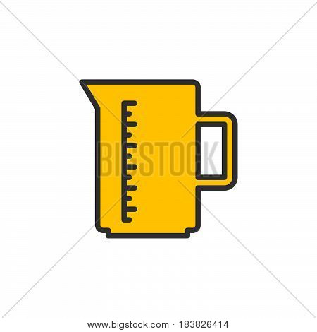 Measuring cup filled outline icon line vector sign linear style pictogram isolated on white. Symbol logo illustration. Editable stroke. Pixel perfect