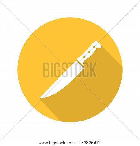 Chef's knife flat design long shadow icon. Vector silhouette symbol