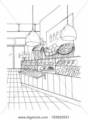 bread department hand drawn black and white illustration, store interior.
