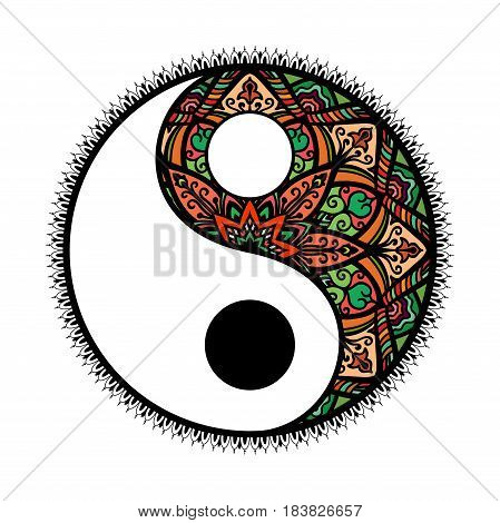 stylized Yin and yang Tao mandala symbol.multicolored Round Ornament Pattern. Vector isolated illustration. Paisley background. Vintage decorative oriental symbol of harmony, balance
