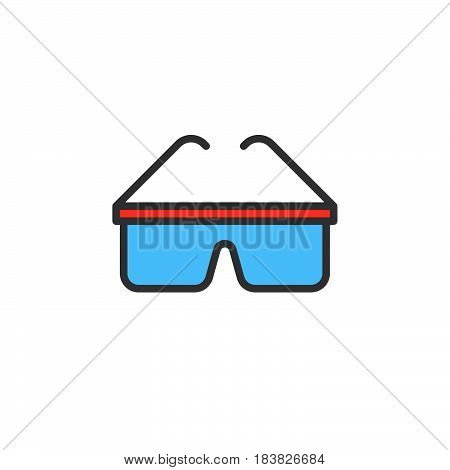 Safety glasses filled outline icon line vector sign linear style pictogram isolated on white. Symbol logo illustration. Editable stroke. Pixel perfect