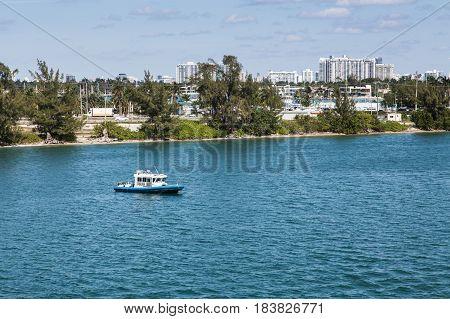 Police Boat in Miami Channel providing security