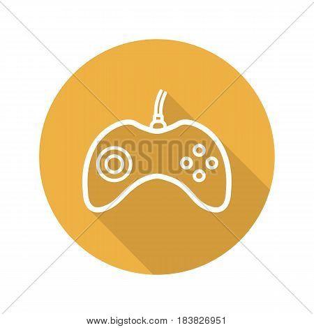 Gamepad flat linear long shadow icon. Joystick. Vector line symbol