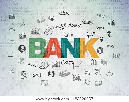 Banking concept: Painted multicolor text Bank on Digital Data Paper background with  Hand Drawn Finance Icons
