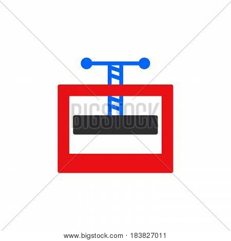 Manual press machine colorful vector icon filled flat sign solid pictogram isolated on white. Symbol logo illustration. Pixel perfect