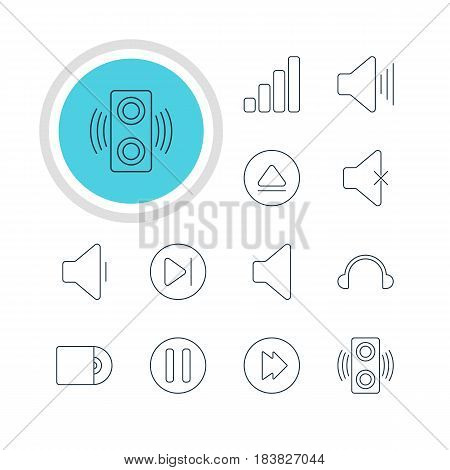 Vector Illustration Of 12 Melody Icons. Editable Pack Of Compact Disk, Volume Up, Rewind And Other Elements.